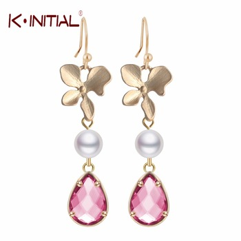 1Pair Fashion Jewelry Gift Charm Orchid Flower and Pearl Red Waterdrop Pendant Drop Earrings Women Statement Wedding Pendientes