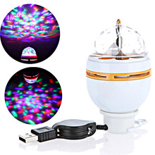 Mini RGB LED Lamp Bulb Stage Lighting Magic Ball 5V DJ Disco Party Club White with USB Interface For Family Party/Holiday