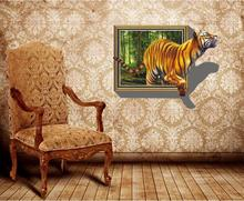 Super Deal Giant 3D Tiger Jumping Out of Jungle Peel & Stick Wall Decals XT(China)