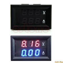 LED Amp Dual Digital Volt Meter Gauge DC 100V 10A Voltmeter Ammeter Blue + Red Free Shipping