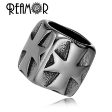 REAMOR 316L Stainless steel Punk Style Cross Big Hole Beads jewelry Making DIY European Charm Beads Beads for Bracelets(China)