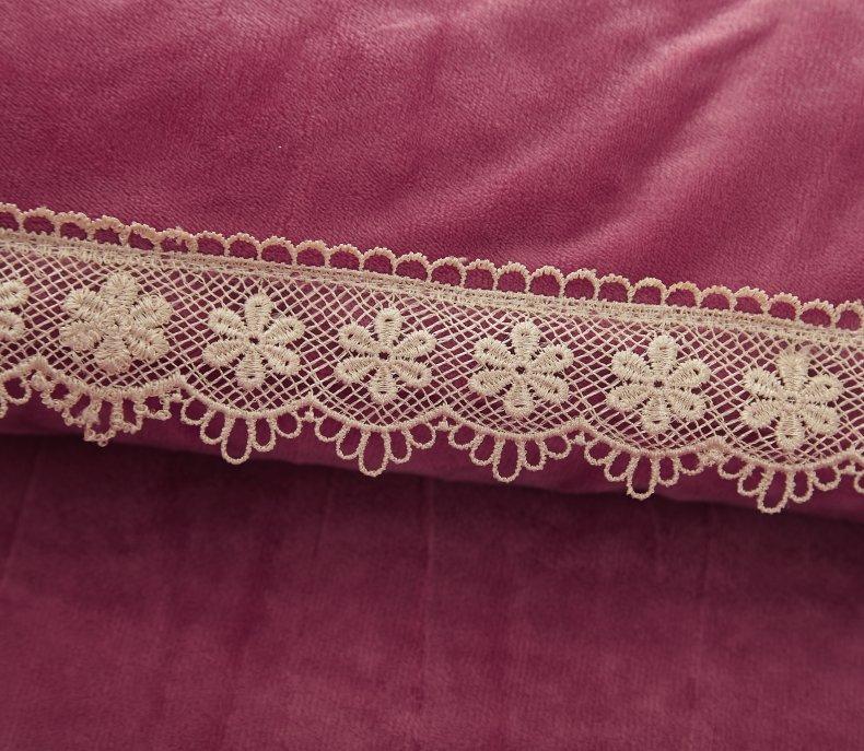 3Pcs Fleece Bed Skirt Set W/ Pillowcases, Mattress Protective Cover 18