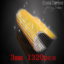 Hot Sale 3mm 1320pcs/set Rhinestone Laptop Skins Personalized Yellow Crystal Self Adhesive Decal Decor Beauty Phone Stickers(China)