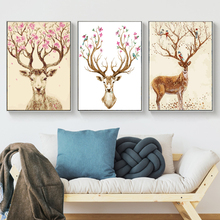 Oil Painting Picture coloring By Numbers DIY Hand Wall Art Canvas Paint Home Decoractions Sika deer Antler For Living Room Gift(China)