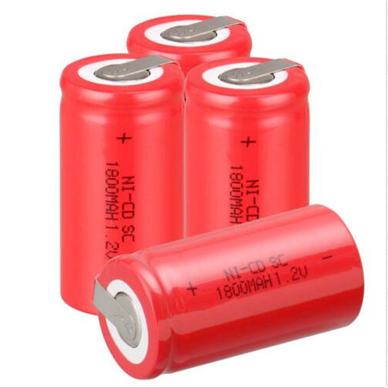 20PCS/lot Sub C SC 1.2V 1800mAh Ni-Cd Ni Cd Rechargeable Battery Batteries Red color Free shipping(China (Mainland))