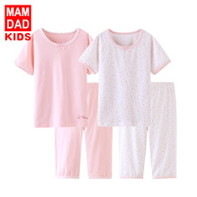 Children Summer Clothing Girls Casual Cotton Outfit Kids Pajamas Underwear Set Homewear Short Sleeve T-Shirt Middle Pants 3-16Y