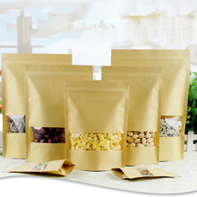 10pcs Brown Kraft Paper Gift Bags Wedding Candy Packaging Recyclable Food Bread Shopping Party Bags For Boutique Zip Lock(China)