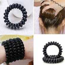 Hot Durable Black Extendable Women Girls Rubber Telephone Wire Hair Accessories Elastic Hair Bands A170-8