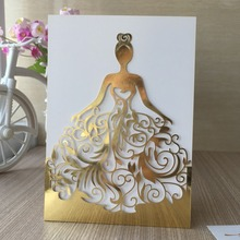 50pcs/lot Metal gold Beautiful girl birthday paty wedding invitation cards Adult Ceremony celebration invitaiton blessing card(China)