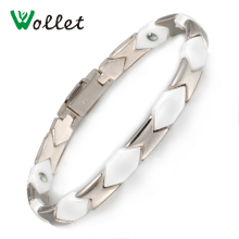 Wollet Jewelry Health Energy Magnetic Gemanium Stainless Steel Ceramic Bracelet Bangle For Women