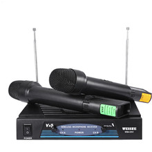 WEISRE WM-03V Portable Professional 220-270MHz Karaoke Wireless Handheld VHF Transmitter Microphone Set with Micro Receiver(China)