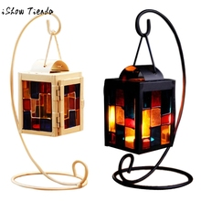 candle holder Retro Iron Moroccan Style Christmas Candlestick Lamp Candleholder Light wedding decoration candlestick Black WhitE(China)