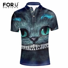 FORUDESIGNS Brand Clothing Men Polo Shirt Ralphmen Gray 3D Cheshire Cat Animal Summer Short Sleeved Mens Polos Tommis For Boys