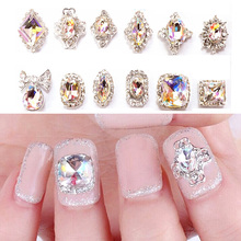 18Pcs/Set Luxury Glitter Diamond Clear Rhinestone Alloy Nail Art Metal Decorations Charm 3D Nail Jewelry Accessories Tool #94435(China)