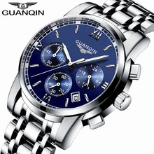 relogio masculino GUANQIN Brand Luxury Men's Fashion Chronograph Luminous Hands Clock Men Business Stainless Steel Quartz Watch