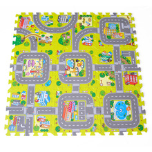 9pc Mat Baby EVA foam Puzzle Play Floor Mats for Kids Criss-cross Traffic Route Ground Pad (no edge) Carpet Split Joint 30x30cm(China)