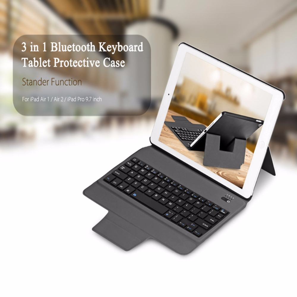 kemile Ultra Slim Bluetooth Keyboard with Stand Leather Case CoverFor iPad Pro 9.7 &amp; For New iPad 2017 &amp;For iPad air1 &amp; air2<br>