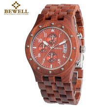 BEWELL Wood Watch Mens Watches Top Brand Luxury Role Luxury Watch 2017 Luxury Brand Sport Watch Relogio Masculin 109(China)