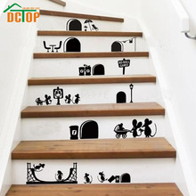 DCTOP New Arrival Cartoon Mouse Vinyl Wall Stickers Home Decor Living Room Art Design Mice Hole Wall Decals Decoration(China)