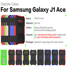 Dazzle cases for Samsung Galaxy J1 ACE J110 J110F phone case Armor silicone + Hard plastic Shock Absorbing Cover Stand Case(China)