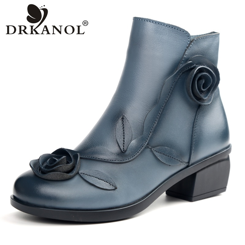 DRKANOL 2018 New Design Autumn Winter Keep Warm Ankle Boots For Women Genuine Leather Flowers Plush Thick Heel Snow Boots H1608 <br>