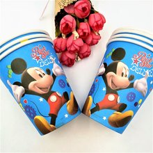 10Pcs Mickey Mouse Party Supplie Birthday Party Decoration Blue Disposable Paper Cup For Baby Shower Favor Mickey Birthday 12