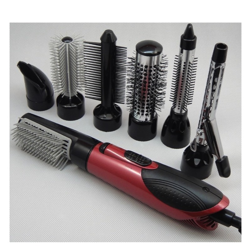 7 in 1 Hot Air Professional Hair Styler 3 Temperature 100V-240V Electric Hair Curler Brush Dryer Set Styling Tools(China)