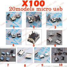 100X 5P 5Pin USB Charing Connector V8 microUSB,T mini USB for ZTE Huawei and other brand mobile MP3 MP4 Phone Tablet PC 20models