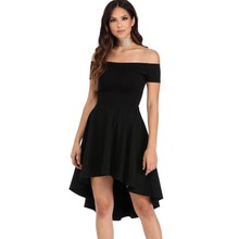 Elegant womens skater dress summer 2017 off shoulder high low dresses casual clothing sexy nightclub sale hot vestidos Q061346