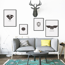 Bianche Wall Movie Marvel Comics Superhero LOGO Black and White Simple A4 Canvas Painting Art Print Poster Picture Wall Decor(China)