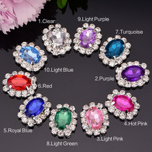Acrylic Rhinestone Embellishment 20mm 100pcs/lot Silver Color Flat Back Used On Shoe Decoration Mixed Color
