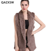 QAZXSW Real Fur Vest Female 2017 New Autumn and Winter Sleeveless Real Rabbit Fur Jacket and Coat Women Fur Vest LH1317(China)
