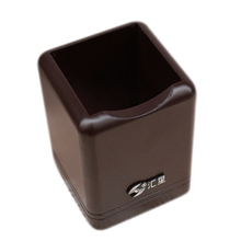 SOSW-Square Shaped Maroon Brown Wood Wooden Pencil Pen Holder Stationery(China)