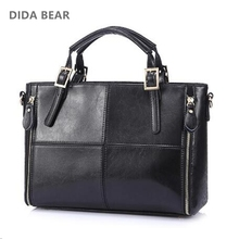2017 Fashion patchwork designer cattle split leather bags women handbag brand ladies shoulder bags Vintage Black Brown Red Blue(China)