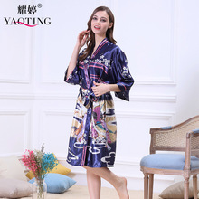 Luxury Women Sleep Shirt Causal Nightgown Nightwear Bathrobe Faux Silk Negligee Slip Kimonos China East Style for Summer Home(China)