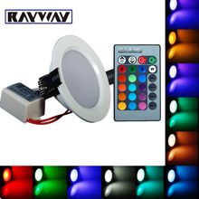 RAYWAY 3W 10W Ultrathin 24 Colors LED RGB Ceiling Light AC85-265V LED Panel Down Light Lamps Round Shape with Remote Control