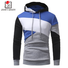 Johns 2017 New Fashion Hoodies Brand Men Multi-Color Stitching Sweatshirt Male Hoody Hip Hop Autumn Winter Hoodie Mens Pullover(China)