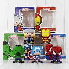 2016 10cm 5pcs/lot The Marvel Avengers Figure Toys Iron Man Hulk Thor Captain America Spiderman PVC Action Figure Model