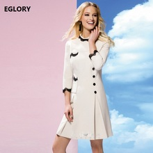 Plus Size Women Dress Office Lady Clothing Autumn 2017 Party Evening Female Classic Black White Color Career Dresses Business