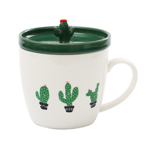 Cactus Ceramics with Cover Office Originality Concise Fresh Breakfast Milk Lovers green lovely coffee tea Cup(China)