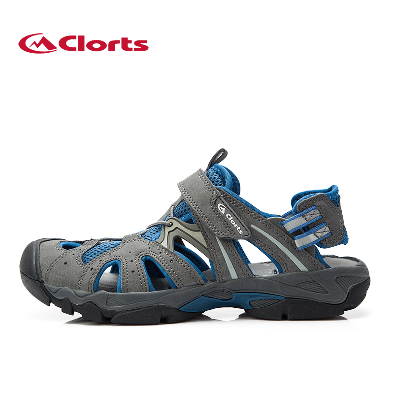 Clorts Breathable Beach Sandals Men Quick Dry Hiking Aqua Water Shoes For Men Walking Trekking Sandals PU Leather Wadding Shoes<br>