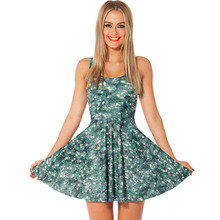 summer dress 2016 Christmas 3D digital printing dress summer female pleated galaxy dresses beach dress