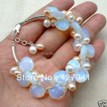 2016 New Special Offer Plant Bracelets Bangles One Direction Pulseiras Femininas Fire Opal And Fresh Water Pearl Cluster Bracele