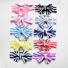 Boutique Princess Girls Striped Top Knotted Fabric Head Wraps Messy Bow Headbands Black Gray Red Navy Neon Pink