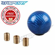 Free Shipping Gear Shift Knob Shifter Lever Round Ball Shape Carbon Fiber For Most Cars color black red blue white