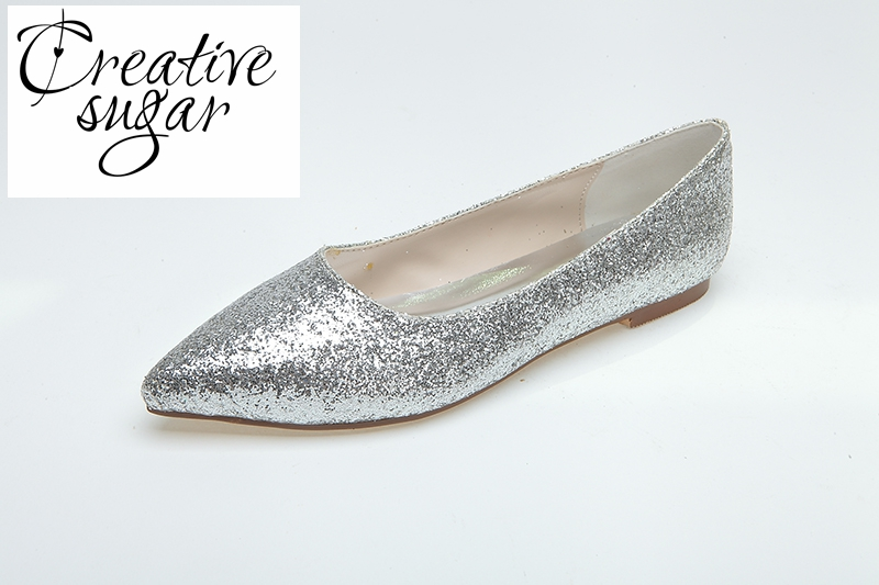 Creativesugar gold silver 3D glitter pointed toe flats woman Casual neutral theme wedding bridal shoes party prom slip on shoes<br>