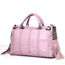 European Fashion Women Handbag Soft Leather Casual Boston Tote for Ladies Brand Design Messenger Bag with Tassels Rivets Pink