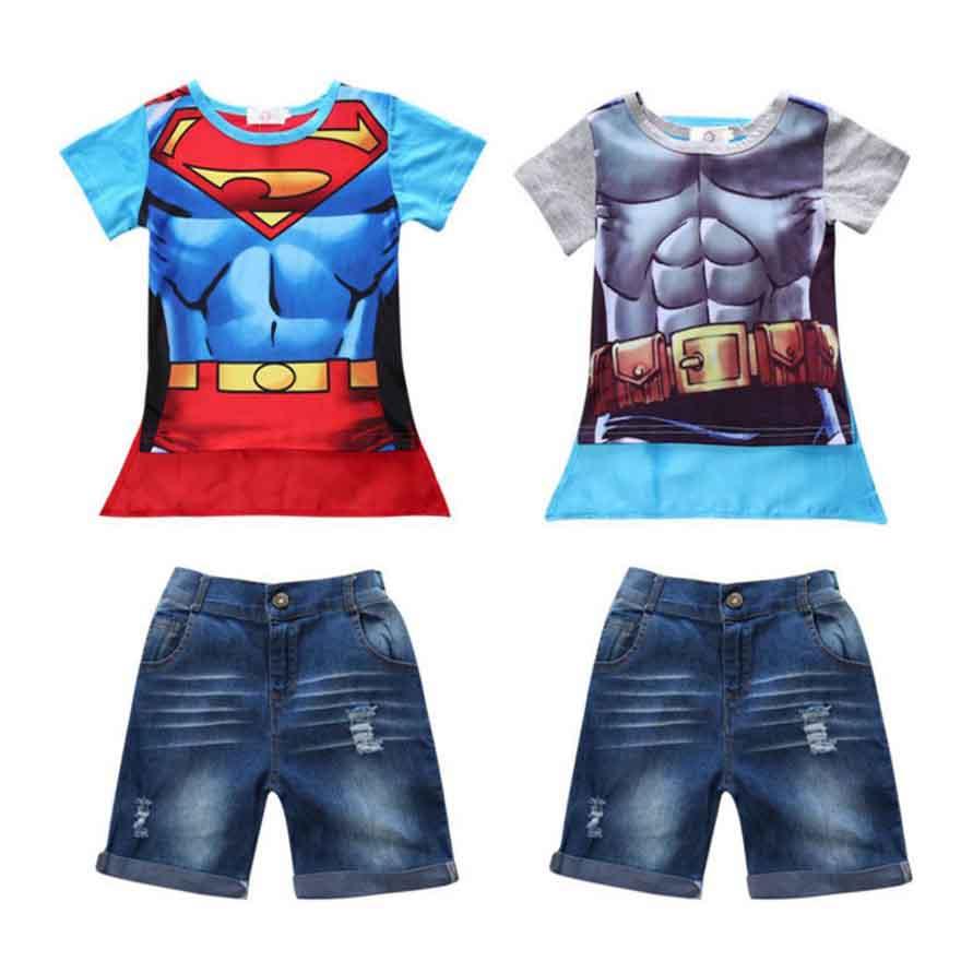 2017 New boy set children hot Summers Superman Batman T-shirt with mantle + jeanst childrens baby clothes<br><br>Aliexpress