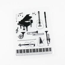 new! music instruments clear stamp big size sheet scrapbooking silicone drawing tools