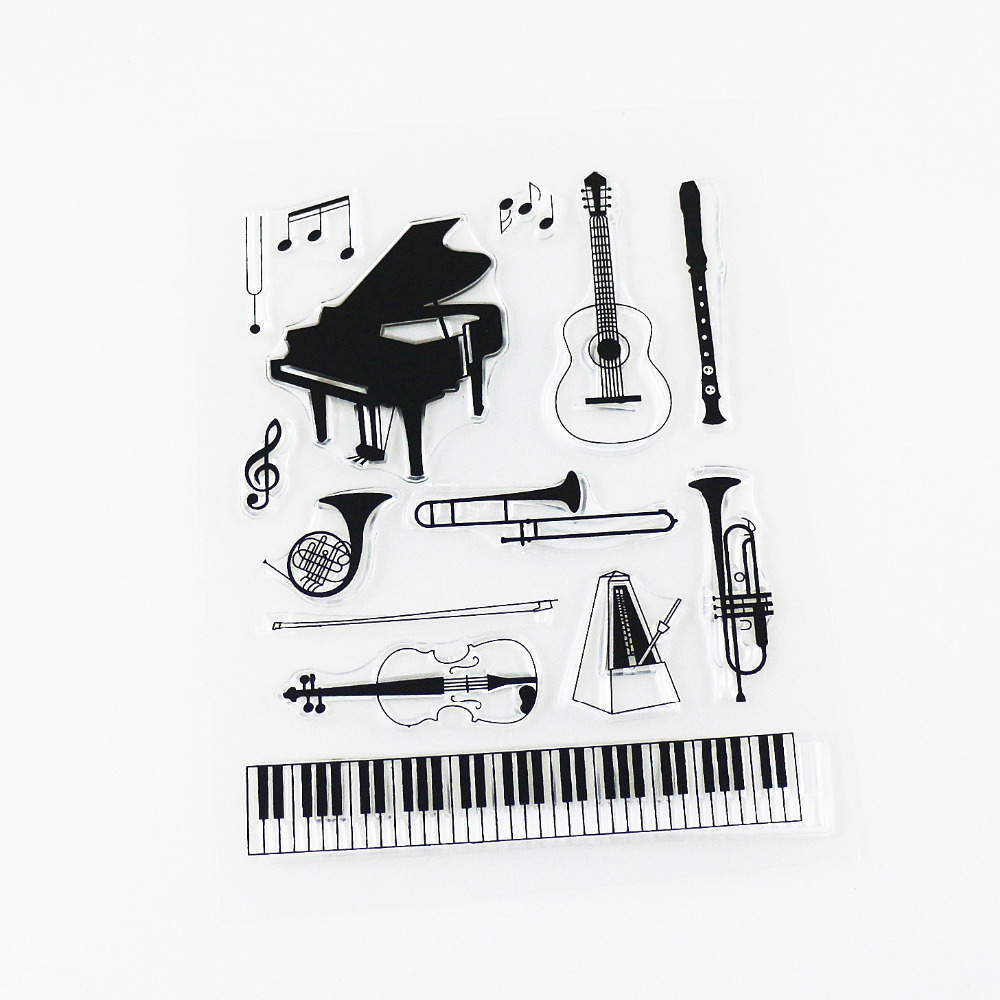 new! music instruments clear stamp big size sheet scrapbooking silicone drawing tools(China (Mainland))